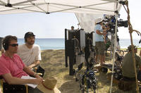Director Nicholas Stoller and producer Judd Apatow on the set of